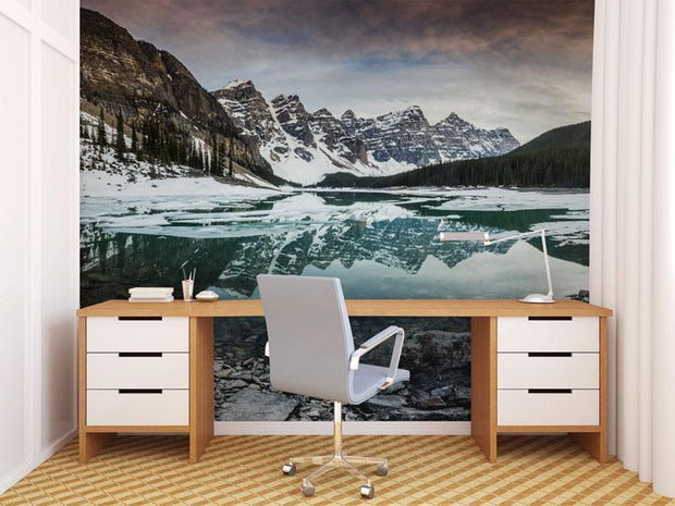 Winter Mountains & Lake Wall Mural-Landscapes & Nature,Vintage-Eazywallz