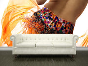 Woman dancing in orange dress Wall Mural-Arts-Eazywallz