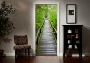 Wood Path Through Tropical Forest Door Mural
