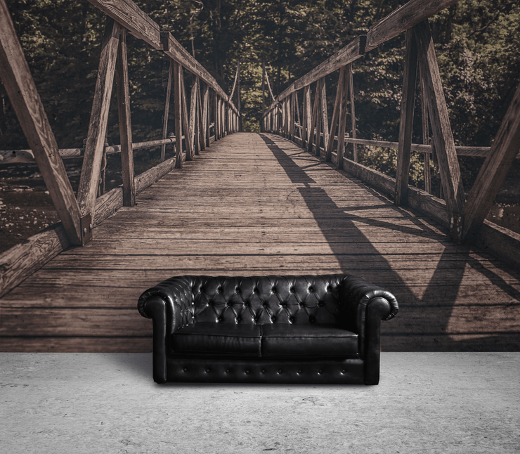 Wooden Bridge in Forest Wall Mural-Zen,Landscapes & Nature-Eazywallz