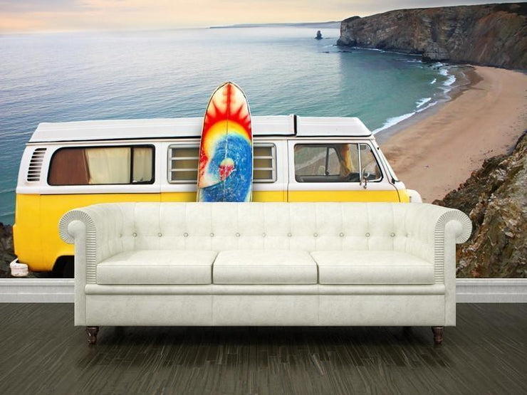 Yellow van with a surf board at the beach Wall Mural-Landscapes & Nature,Sports-Eazywallz