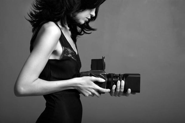 Young photographing lady Wall Mural-Arts,Black & White-Eazywallz