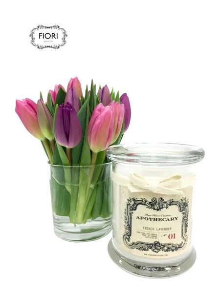 Tulips & Scented Candle Gift Set