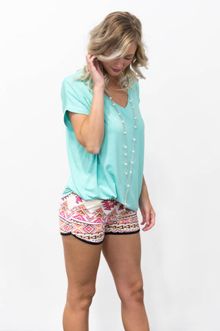 Islander Shorts in Pink Aztec