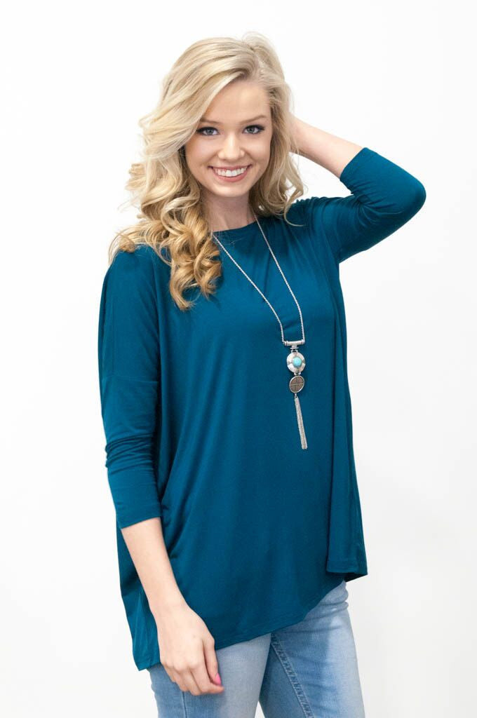 Piko Perfect 3/4 Sleeve Top in Majolica Blue
