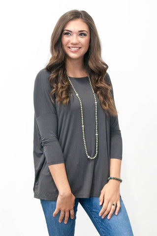 Piko Perfect 3/4 Sleeve Top in Dark Grey