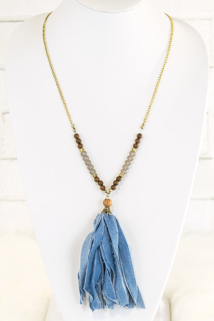 Distressed Denim Necklace in Light Wash