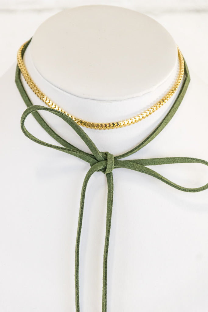 Tie the Knot Necklace in Olive