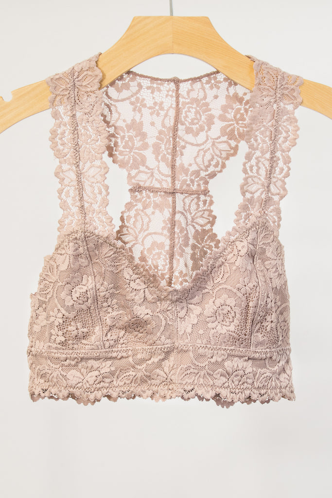 Lace Elegance Bralette in Warm Taupe