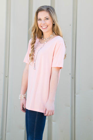 Piko Short Sleeve in Light Peach (Crew Neck)