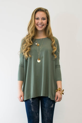 Piko Perfect 3/4 Sleeve Top in Olive