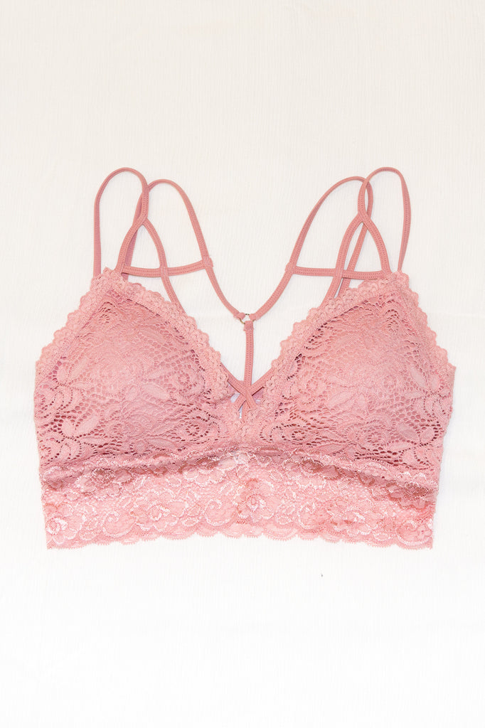 Cross My Mind Bralette in Mauve Pink
