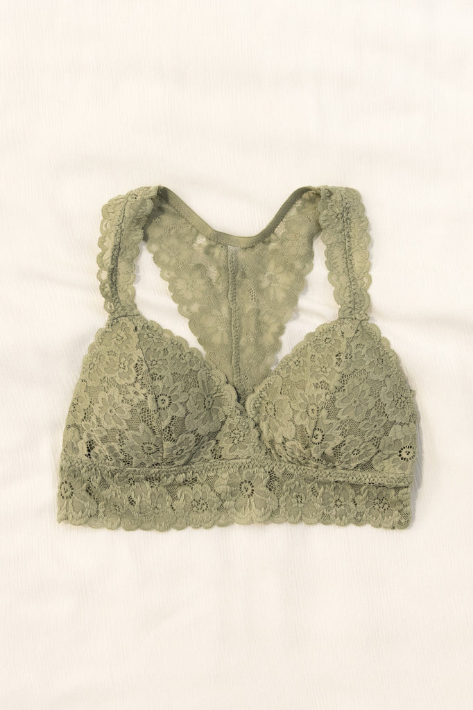 Flower Power Lace Bralette in Light Olive