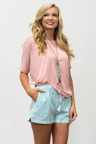 Seersucker Shorts in Seafoam