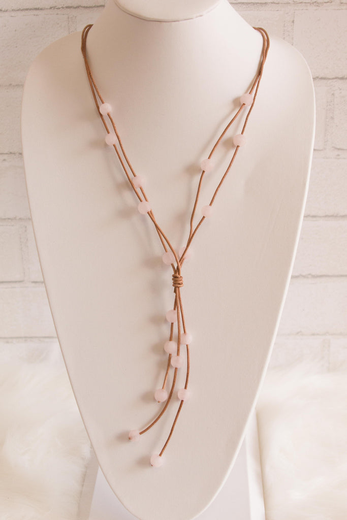 Beaded Leather Necklace in Pink