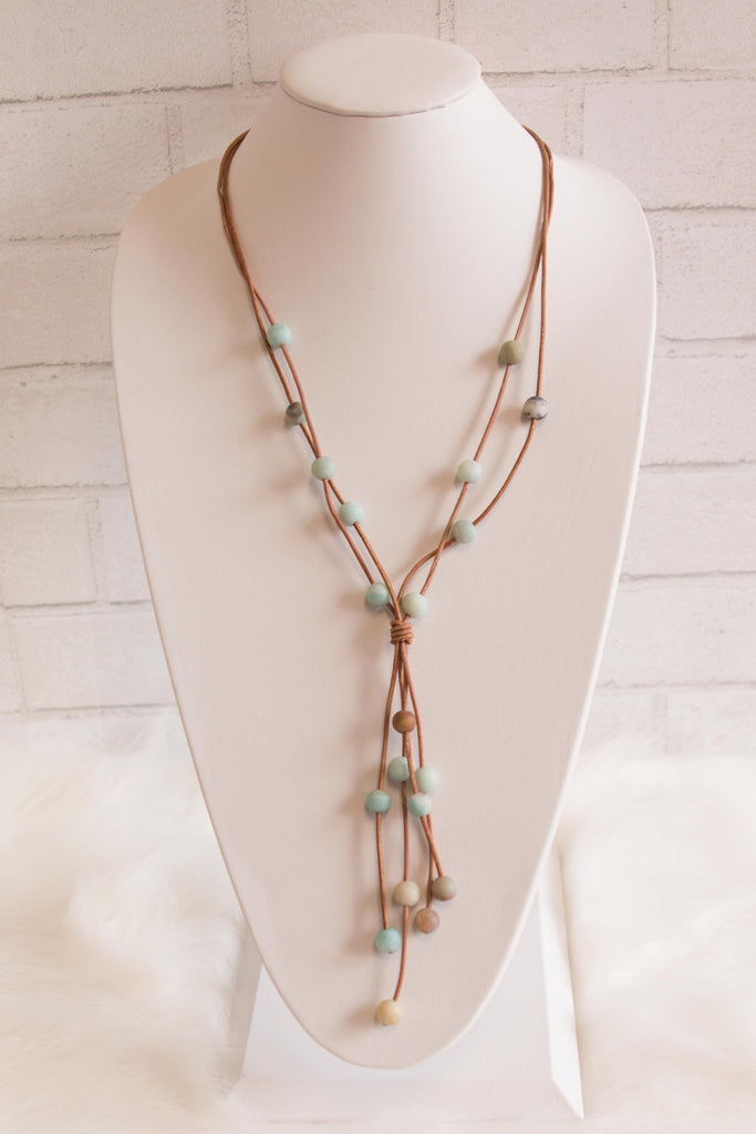 Beaded Leather Necklace in Blue