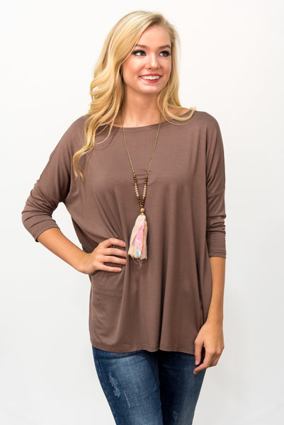 Piko Perfect 3/4 Sleeve Top in Brown