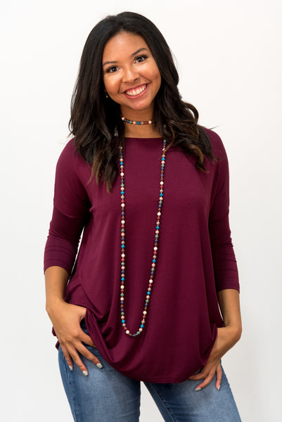 Piko Perfect 3/4 Sleeve Top in Dark Maroon