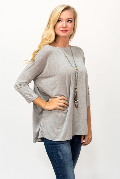 Piko Perfect 3/4 Sleeve Top in Heather Grey