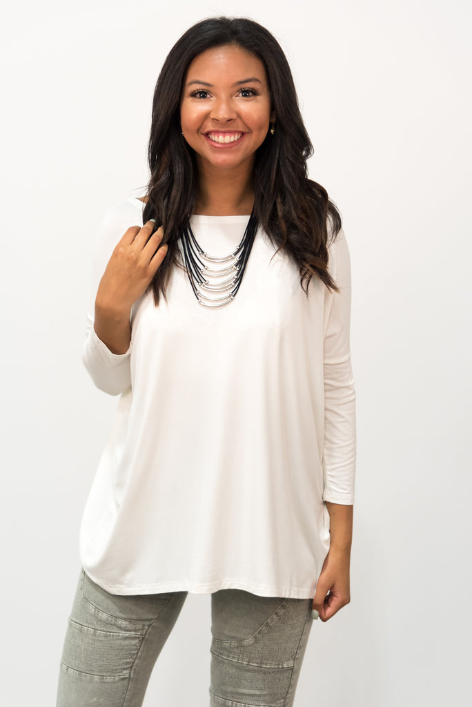 Piko Perfect 3/4 Sleeve Top in Off White