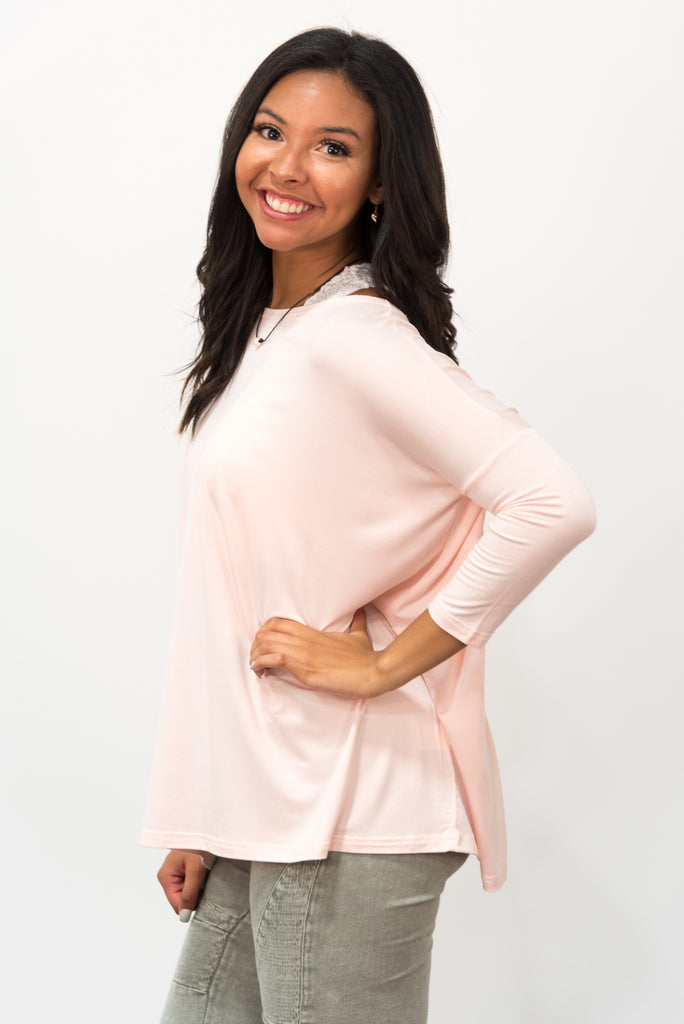 Piko Perfect 3/4 Sleeve Top in Pale Dogwood