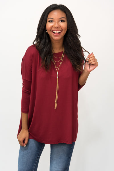 Piko Perfect 3/4 Sleeve Top in Wine