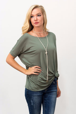 Piko Knot Top in Olive