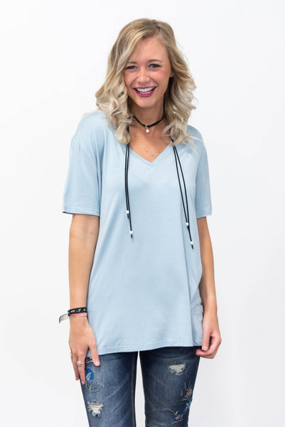 Piko Short Sleeve in Quiet Blue (V-Neck)