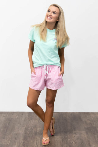 Seersucker Shorts in Hot Pink