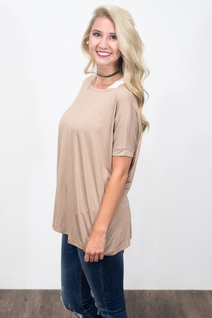 Piko Knot Top in Taupe