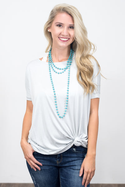 Piko Knot Top in Light Grey