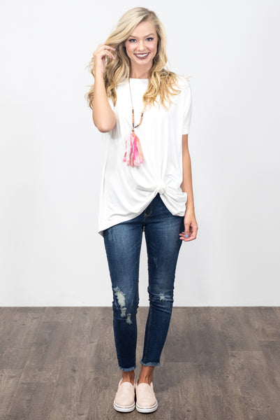 Piko Knot Top in Off White