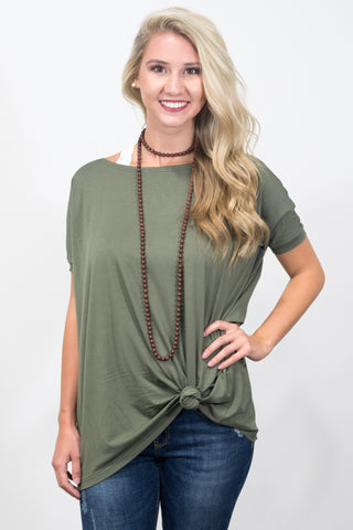 Piko Knot Top in Army