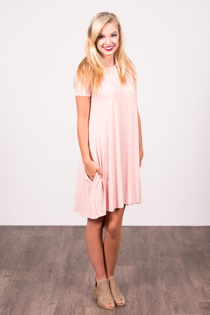 Swing Style Piko Dress in Vintage Blush