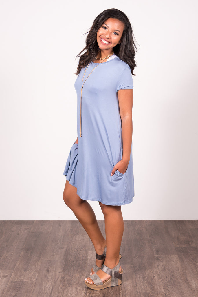 Swing Style Piko Dress in Serenity