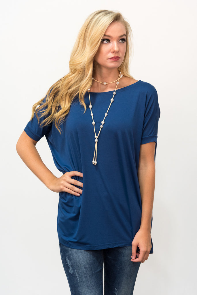 Piko Knot Top in Navy