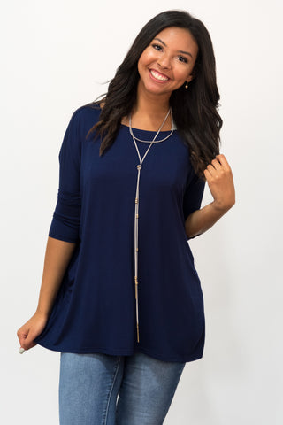 Piko Perfect 3/4 Sleeve Top in Navy