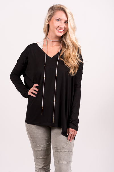 Piko Perfect V-neck Top in Black