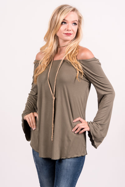Flutter Long Sleeve Piko Top in Army