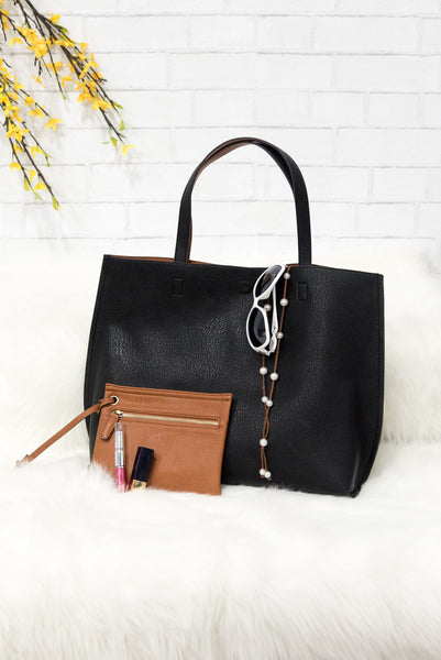 Fashionista Reversible Purse in Black/Cognac