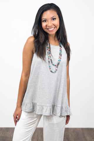 Ruffle Me Crazy Top in Heather Grey