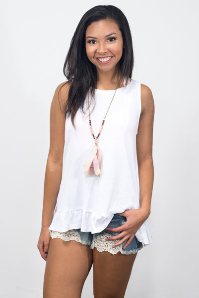 Ruffle Me Crazy Top in Off White