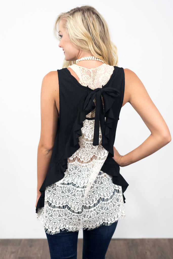Ruffle Me Crazy Top in Black