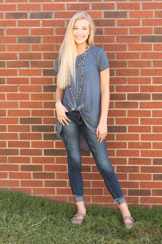 Twisted Together Top in Denim