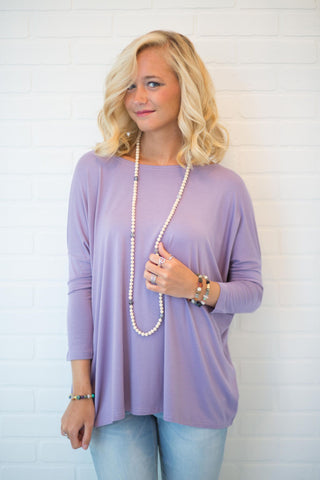 Piko Perfect 3/4 Sleeve Top in Lilac