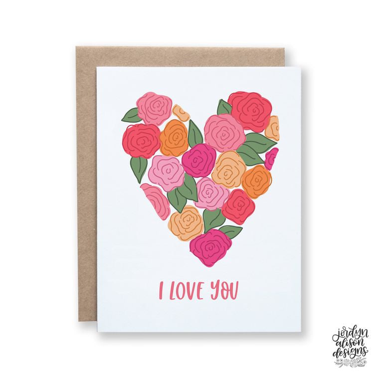 floral heart love card