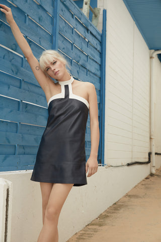 LEATHER HALTER MINI DRESS