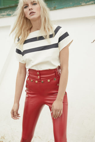 HIGH WAIST PATENT LEATHER PANT