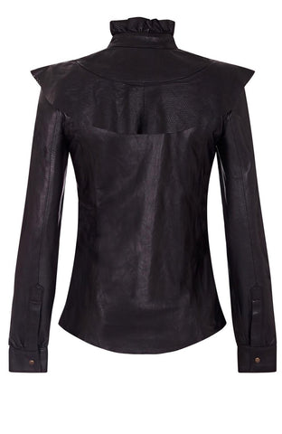 LEATHER RUFFLE NECK BLOUSE