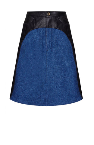 HYBRID LEATHER/DENIM SKIRT